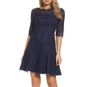 Eliza J Lace Fit & Flare Cocktail Dress in Navy